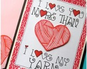 I Love Yarn - Hand Carved Rubber Stamp