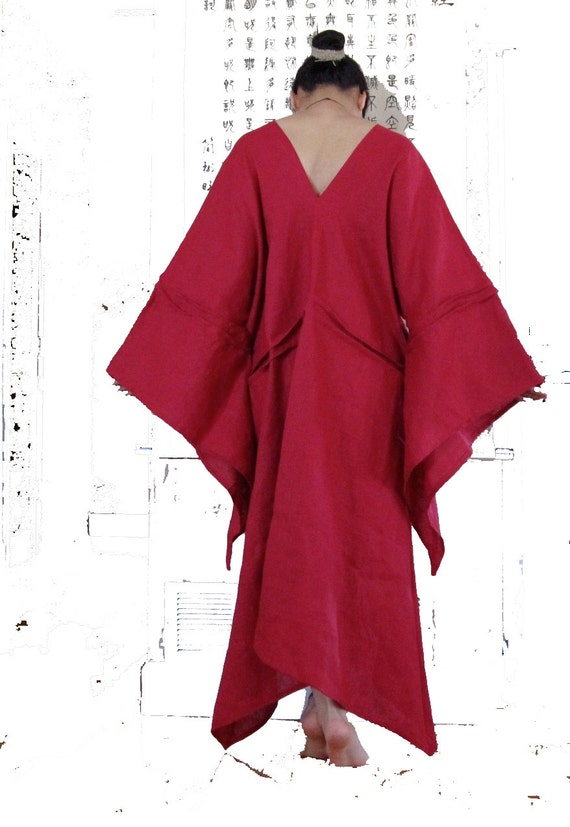 linen flying swallow pleat tucks long dress made to measure only