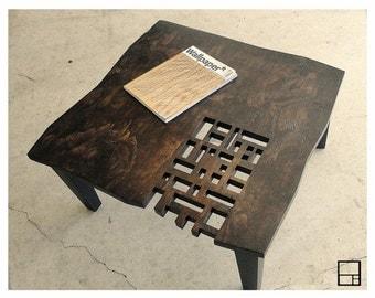 MSTRF // AD Block // Modern Rustic Distressed Coffee Table // 32 x 32 Square // Dark Walnut - Espresso Finish // Mid Century Modern Design