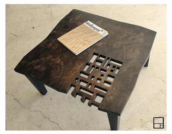 MSTRF // AD Block // Modern Rustic Distressed Coffee Table // 32 x 32 Square // Dark Walnut - Espresso Finish // Mid Century Modern Design