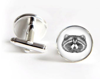 RACCOON Cufflinks silver 18mm cuff links Gifts for him