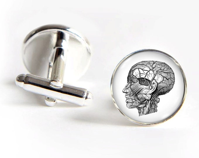 Head Anatomy Cufflinks silver 18mm cuff links Gifts for him