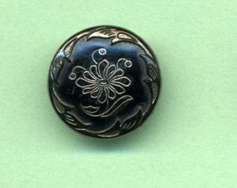Antique Victorian Glass Button - Late 1800's - Black