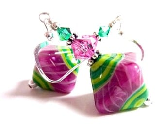 Pink Green Earrings, Dangle Drop Earrings, Fuchsia Lime Green Beaded Earrings, Watermelon Earrings, Fun Summer Earrings, Handmade Lampwork