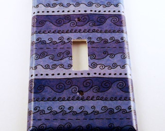 Switchplate Light Switch Cover in  Funky Blue Waves  (093S)