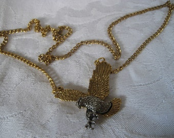VINTAGE Silver & Gold Metal Eagle Costume Jewelry Necklace