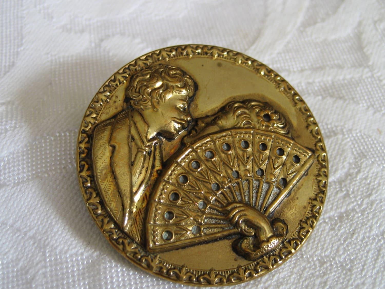 large antique victorian stolen kiss metal hand fan amp couple