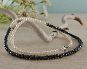 Black and White Necklace Spinel White Pearl choker Sterling Silver
