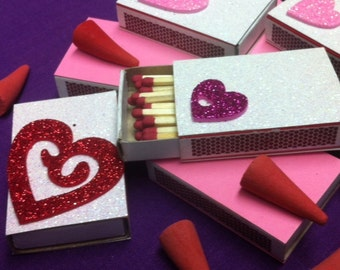 10 Love and Hearts White Glitter and PInk Matchboxes