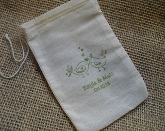 Personalized Love Bird Wedding Muslin Favor Bags Gift Bags or Candy Bags 4x6- Set of 10 - Item 4M1521