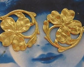Natural Raw Brass Four Leaf Clover Shamrock Stamping 2242RAW  x1