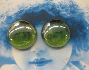 Vintage Glass Sea Foam Green AB 19.5mm Stone Cabochons 2191VIN x2