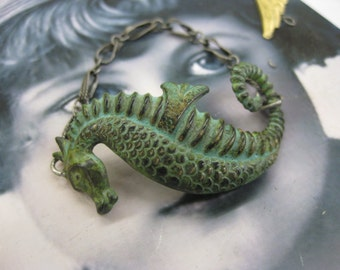 Verdigris Patina Large Sea Horse Brass Stamping  Bent or Straight 923VER x1