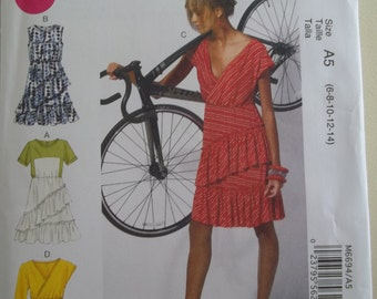 McCalls 6694 Summer Dress Pattern Front Wrap Ruffle Skirt