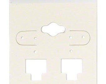 50 Pack Opaque Light tan  Hole Top Large 2x2 Inch Plastic Hanging Earring Cards for Clip on Earrings