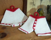 Vintage Hand Crocheted Red and White Bloomers Potholders