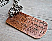 Handstamped Copper dogtag personalized on a stainless steel chain