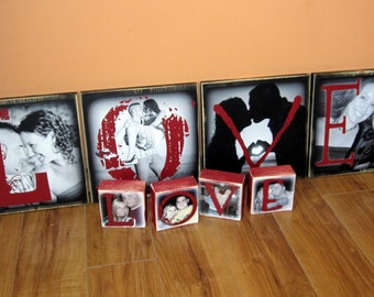 Grandparent's Day GiFT- LOVE instead of a card- Personalized EXTRA Large Photo Blocks- 9 inch square- set of 4