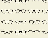 Glasses Fabric, White Black from Riley Blake, Geekly Chic Glass on cream, 1/3 yard