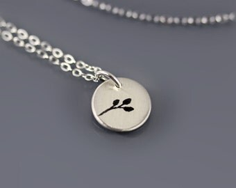 Tiny Silver Branch - Twig Necklace - Etched Sterling Silver Pendant