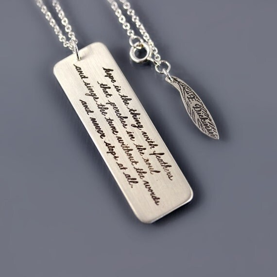 Emily Dickinson Handwritten Necklace, sterling silver cursive jewelry, calligraphy necklace, handwritten pendant