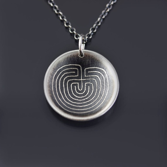 Etched Silver Labyrinth Necklace
