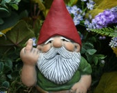 Rude Garden Gnome Flipping The Bird - LARGE 7 INCHES TALL  Naughty Gnome