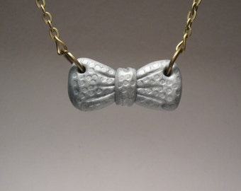 Silver Bow Necklace - Kawaii Polymer Clay Jewelry