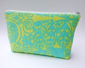 Daytripper Makeup Bag in Fresh Mint Green Temple Doors