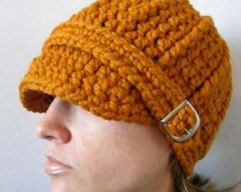 Butterscotch Hat Butterscotch Beanie Butterscotch Cap Womens Hat Womens Beanie Womens Cap Orange Hat Orange Beanie Orange Cap Buckle Beanie
