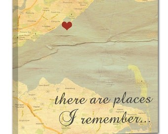 Anniversary Gift Map Art Personalized Holiday Gift Romantic Map with Quote Art Customized with Places and Names