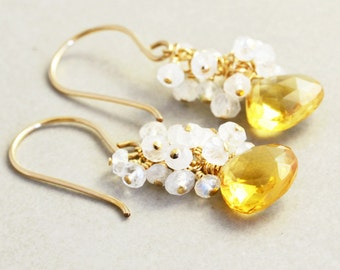 Citrine Earrings, Yellow Stone Earrings, November Birthstone