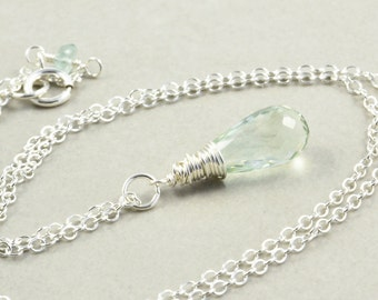 Green Amethyst Necklace, Sterling Silver Necklace, February Birthstone