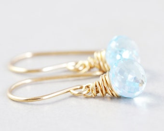 Blue Topaz Drop Earrings, December Birthstone, Petite Gemstone Dangle Earrings