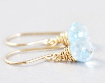 Blue Topaz Drop Earrings, December Birthstone, Gemstone Dangle Earrings