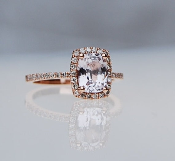 1.98ct Cushion ice peach champagne sapphire in 14k rose gold diamond ring  engagement ring