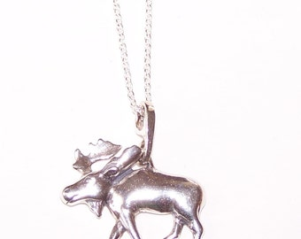 Sterling MOOSE Pendant and Chain - Wildlife, Totem - 22 Inch Chain