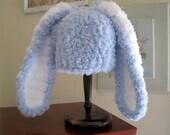 Baby Bunny Hat, Crochet Bunny Hat, Newborn Bunny Hat, Easter Rabbit Hat, Baby Boy Bunny Hat, Blue Bunny Hat, Boy Newborn Hat, 0-3 months