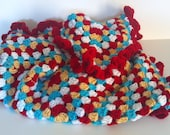 Simply Crotchet Granny Infant Red Ruffel Blanket