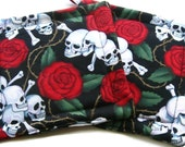 Quilted Skull Pot Holders set of 2 Roses Tattoo Red Black