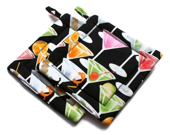 Handmade Quilted  Pot Holders Martinis at Night set of 2