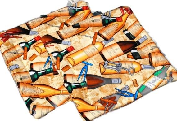 Handmade Quilted Pot Holders Wine Bottle Set of 2