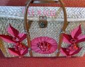 Vintage 1950's/1960's Mexican Straw Beachbag Purse