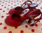 Vintage 1940's Red Leather Heels