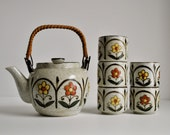 otagiri teapot tea set japanese stoneware ceramic tea cups 1970s made in japan daisy floral mod