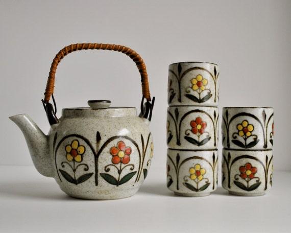 otagiri teapot tea set japanese stoneware ceramic tea cups 1970s made in japan daisy floral mod