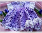 Crochet Pattern for Baby Dress........Tulip Time Baby Dress with  Booties