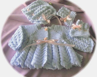Crochet Pattern for Baby Ripple Stitch Sweater,  Bonnet and Booties