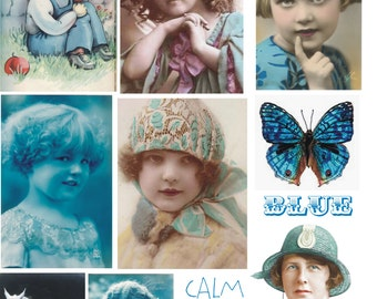 BLUE girls ladies vintage Collage Sheet