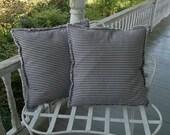 Stripe Ticking Pillows Custom Colors & Sizes  Decorative Pillows Navy Ecru or Black Ticking Throw Pillow Raggedy Pillow Cover Beach Decor